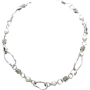 """Beautiful Designer Signed Michael Dawkins Sterling Silver, 14K Gold and Pearl Necklace - 18"""" Long"""
