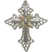 Beautiful Sterling Silver & 12K Gold Black Hills Gold Cross Pendant Signed C Co - Coleman