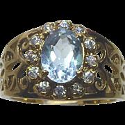 Fancy Gold Over Sterling Silver Designer Blue Topaz Ring Signed MRF - Size 7