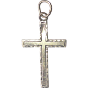 Pretty Antique 10K Gold Cross Pendant or Charm - Engraved With Name