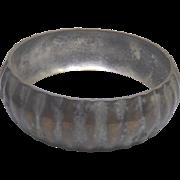 Vintage Distressed Silver Over Brass Wide Bangle Bracelet