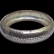 Vintage Distressed Silver Over Copper Hammered Bangle Bracelet