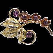 Vintage Gold On Sterling Silver Flower Brooch Tri Color Gold & Purple Stones