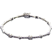 Gorgeous Signed Judith Jack Sterling Marcasite Bracelet with Hearts & Diamonds