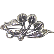 Striking Sterling Silver Triple Calla Lily Bouquet Brooch