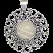 Vintage Modernist Sterling Silver & Polished Flint Stone Pendant From Poland ORNO Coop