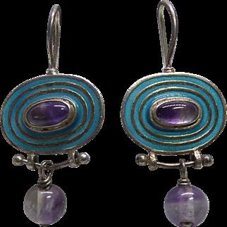 Sterling Silver Earrings With Purple Gemstones & Teal Enamel