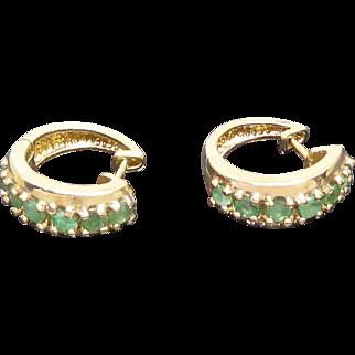 Pretty Gold Over Sterling Silver Green Peridot Gemstone Earrings
