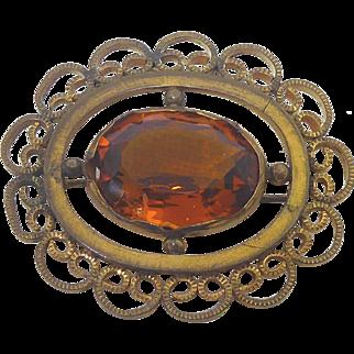 Antique Pin - Fancy Filigree Setting & Big Amber Glass Stone Signed FLS