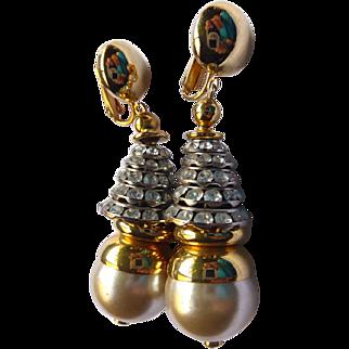 Attention Getting Crystal Rhinestone & Faux Pearl Earrings - Flashy!