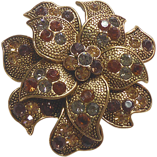 Beautiful Flower Brooch Colored Rhinestones Signed Lc Loius C Marks
