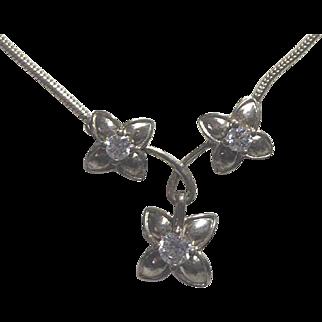 Sterling Silver & Crystal Vintage Flower Trio Necklace Signed HV