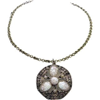 Big SIGNED STAR Necklace with Art Glass Stones On Snake Like Filigree Background