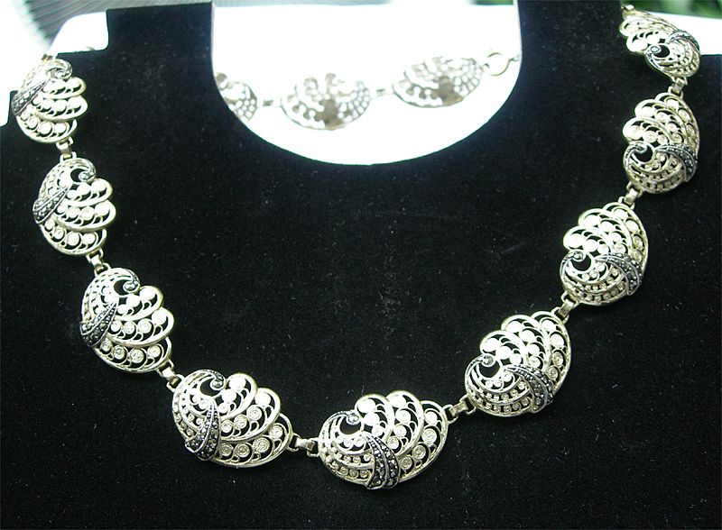 835 Silver Beautiful Two Tone Cannetille & Marcasite Necklace - Willi Nonnenmann Pforzheim Germany