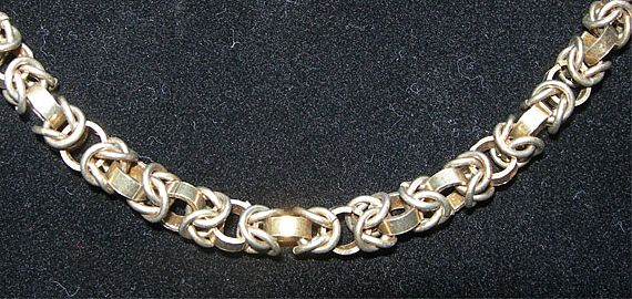 Italian Silver Necklace - Unusual Fancy Links - Signed DJ