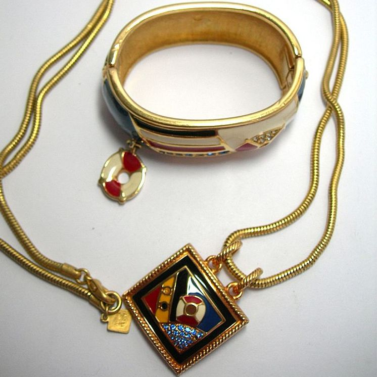 Gorgeous Signed Swarovski Enamel & Crystal Nautical Bracelet and Pendant Beach Wear!