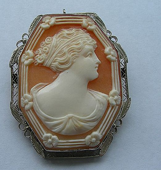 Art Nouveau / Art Deco 14k White Gold Large Cameo Pendant Brooch