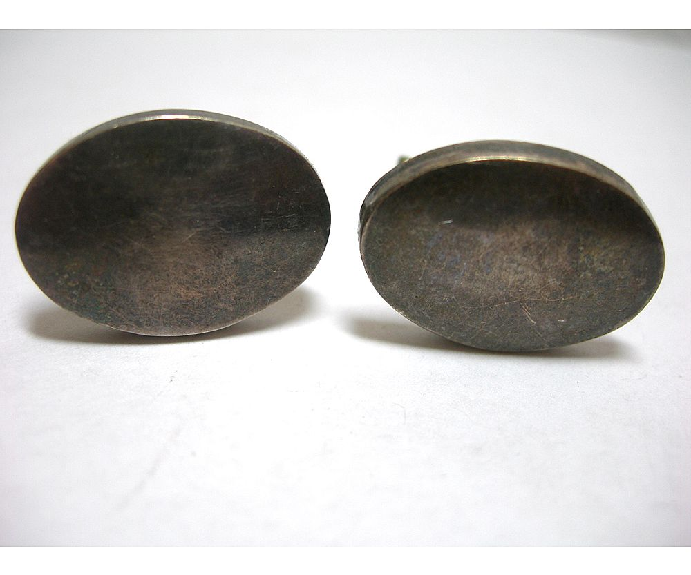 Mexican Sterling Silver Oval Shaped Cufflinks