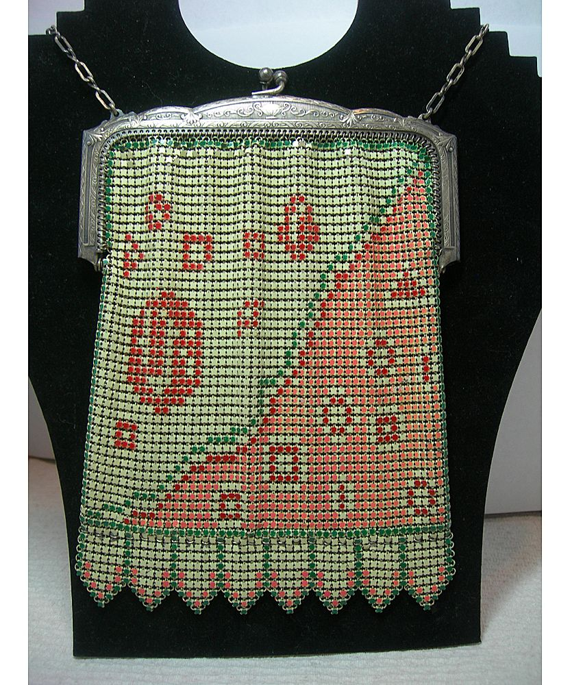 Art Deco Era Whiting & Davis Enamel Mesh Purse w/ Geometric Design
