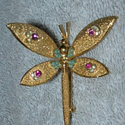 Hinged Wing Dragonfly Brooch - Signed Coro Pat. Pend.