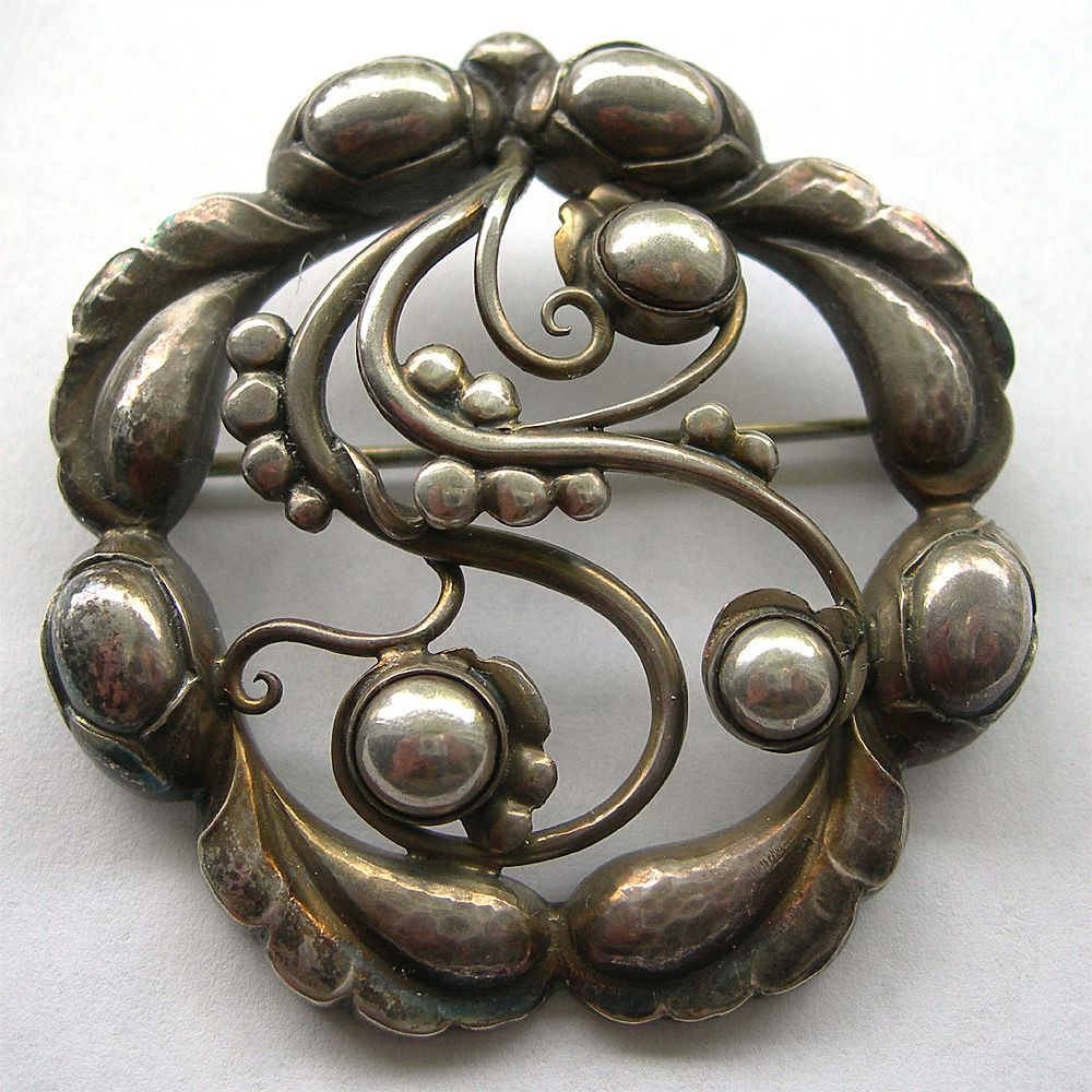 Georg Jensen Moonlight Blossom Brooch In All Sterling Silver - #159