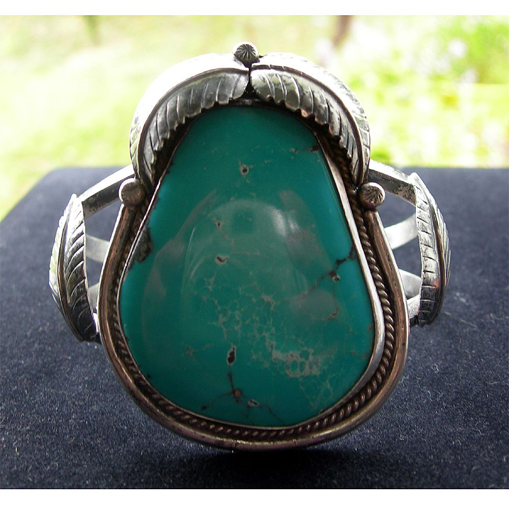 Huge Navajo Silver and Turquoise Cuff Bracelet with Leaves