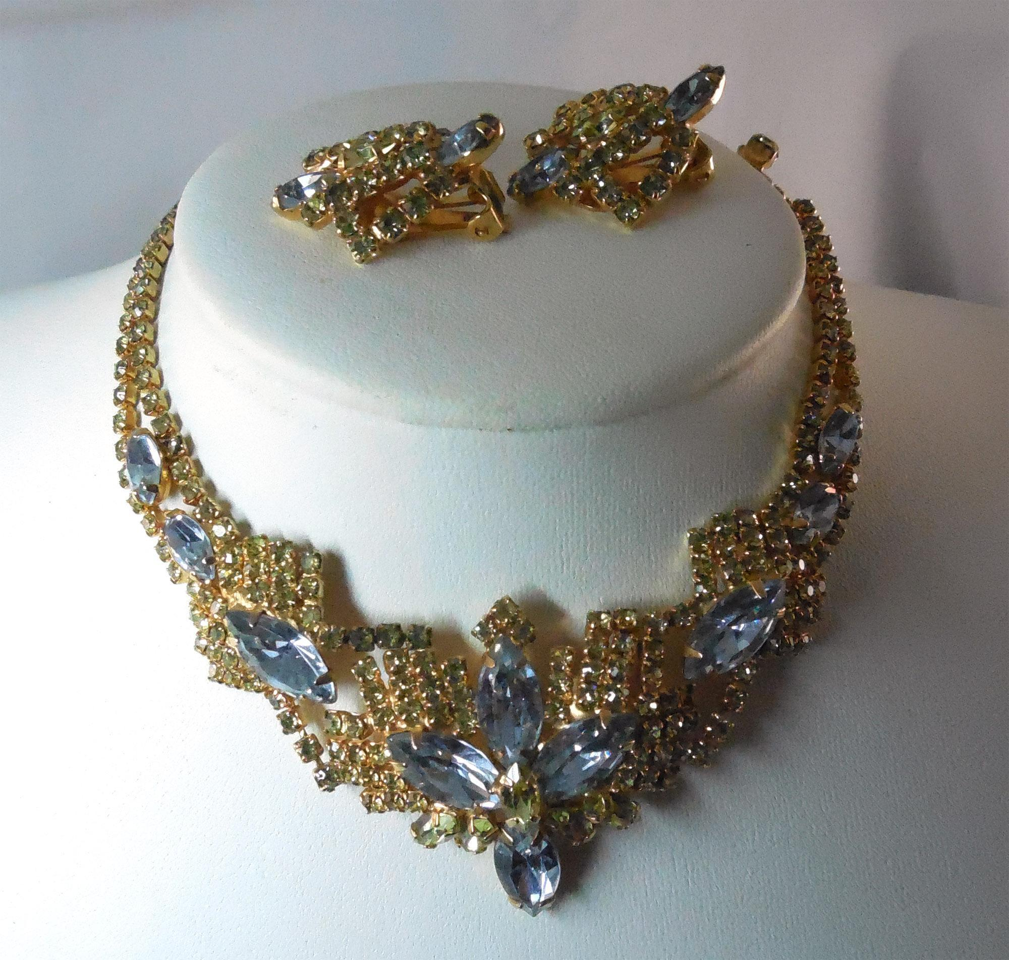 Gorgeous Lavender Blue Chartreuse Necklace And Earrings