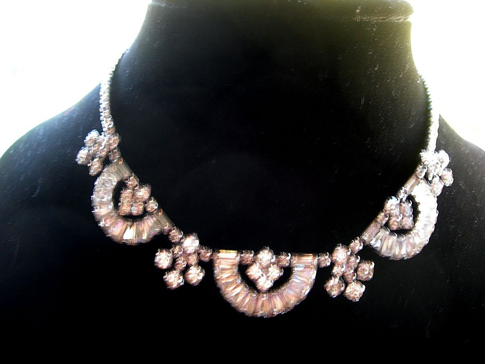 Fabulous Vintage Rhinestone Necklace with Swags and Drops