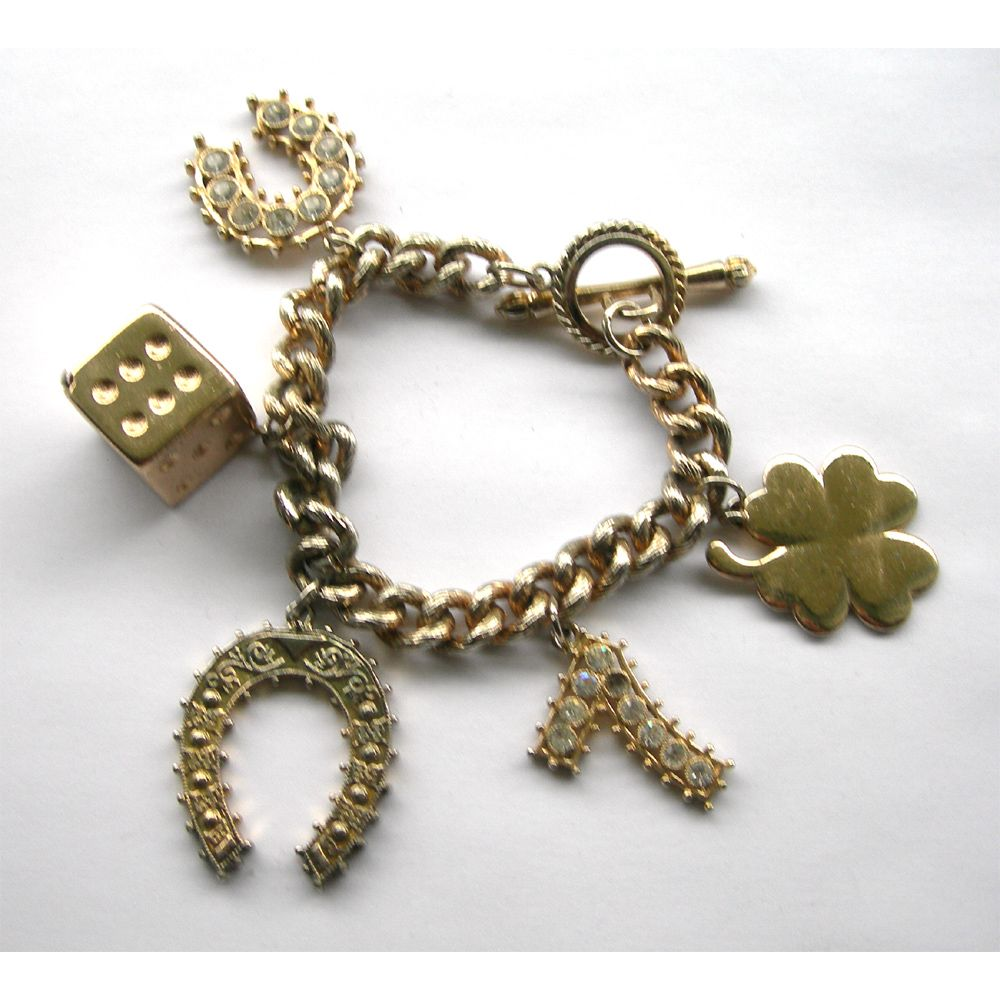 Vintage Lucky Charm Bracelet Perfect Wear The Lantern And Shovel Ruby Lane