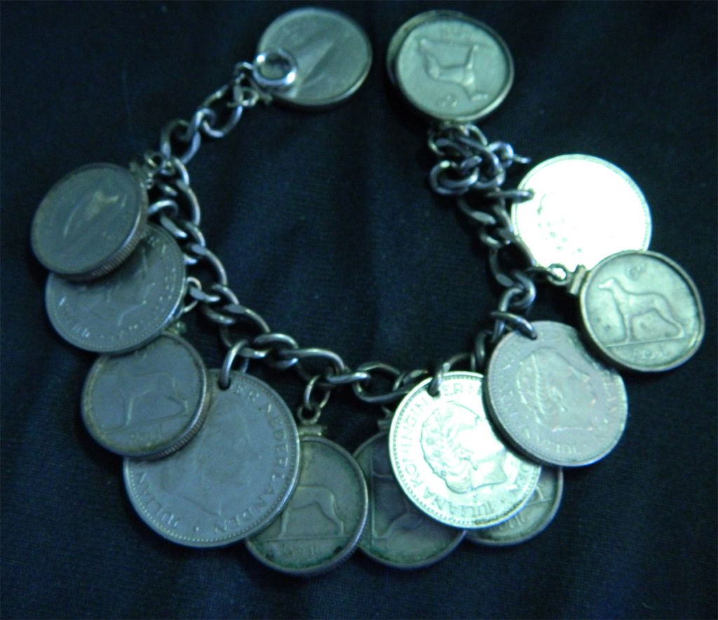 Very Nice Sterling Silver Charm Bracelet with Coins
