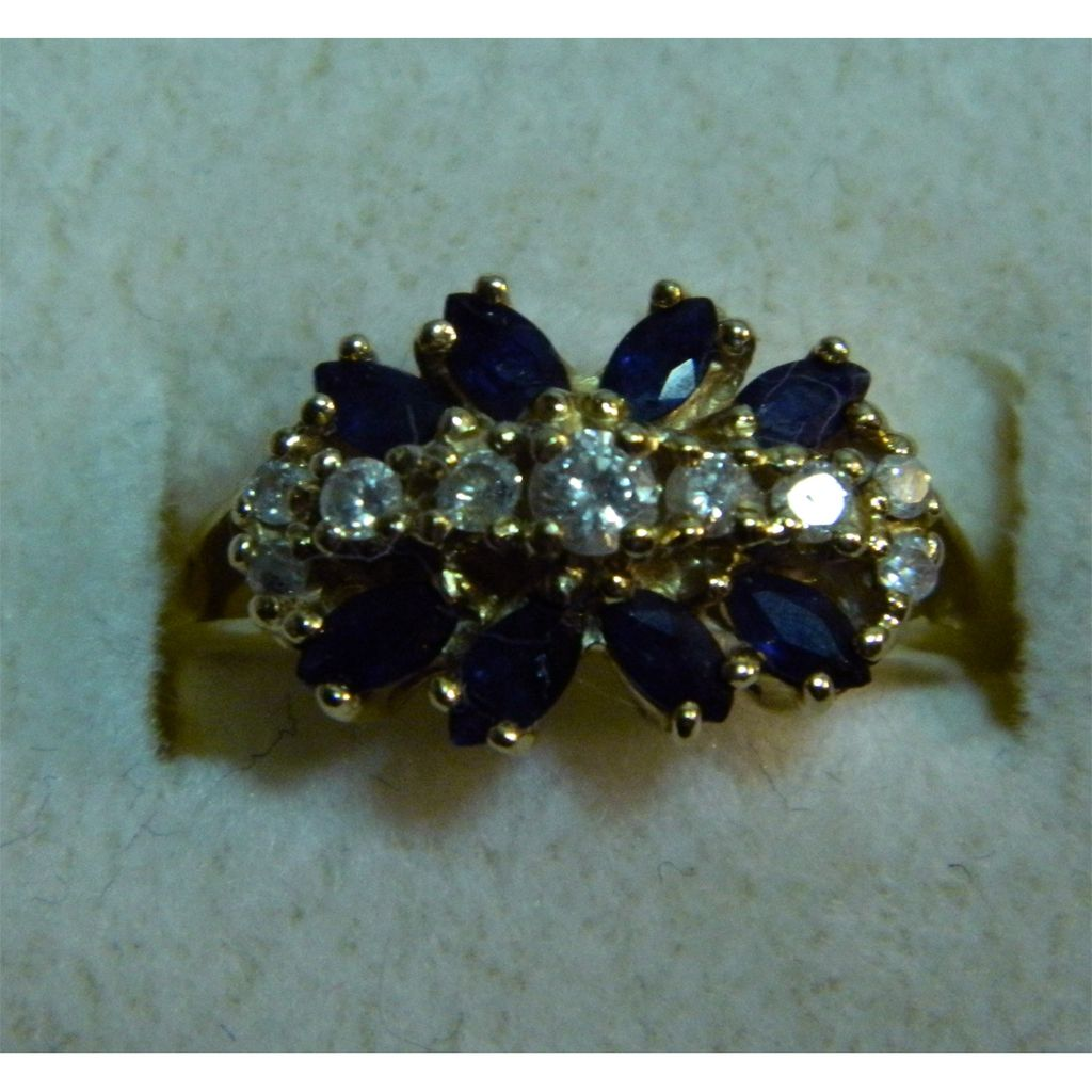 14K Gold Estate Ring - Sapphire and Diamond