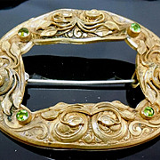 Large Ornate Victorian Botanical Sash Brooch With Green Stones
