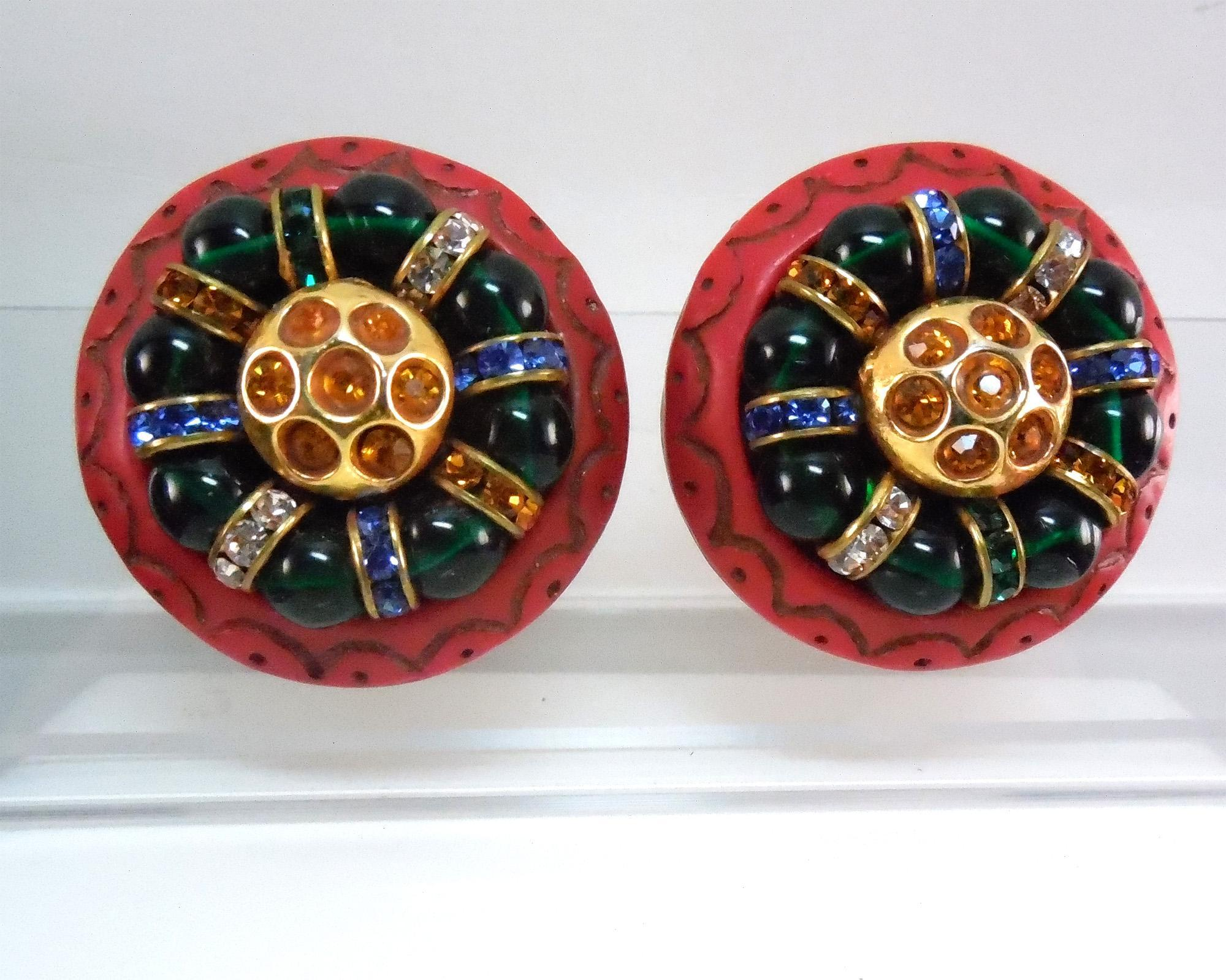 Vibrant Large Runway Red Resin and Glass Earrings Signed Kalinger - Paris France