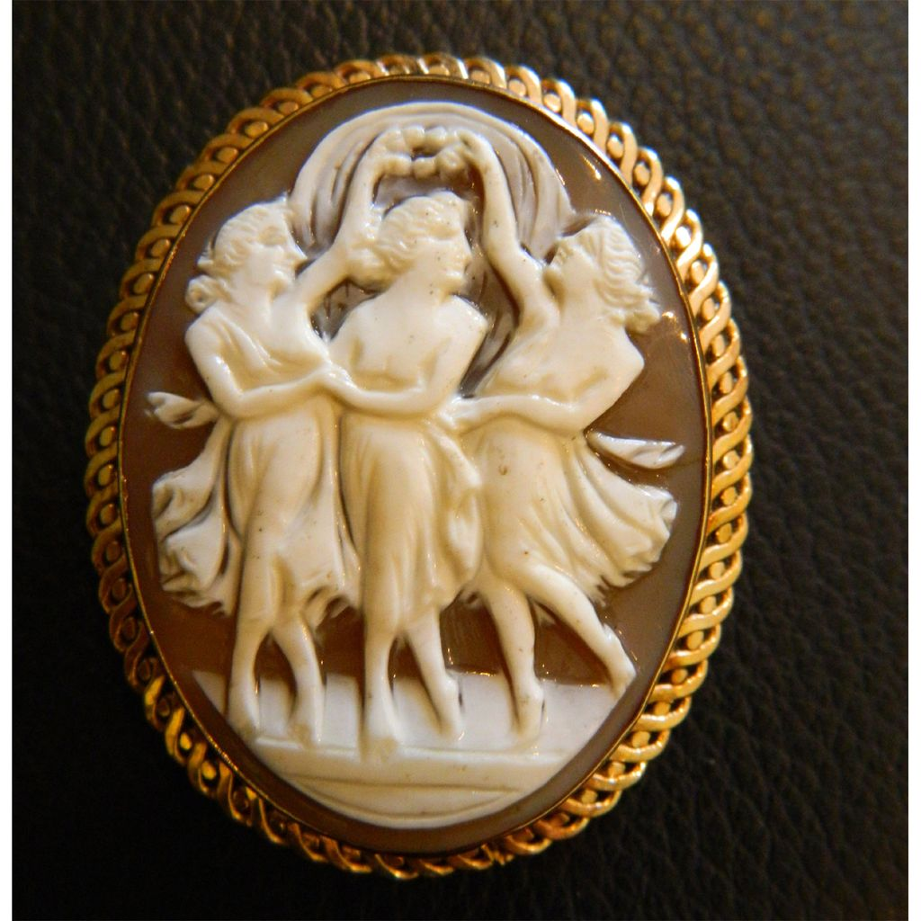14K Gold Victorian Era 3 Graces Cameo - Artist Signed and Also Marked ACCO