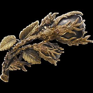 Antique Victorian Edwardian 10K Black Wild Rose Mourning Brooch