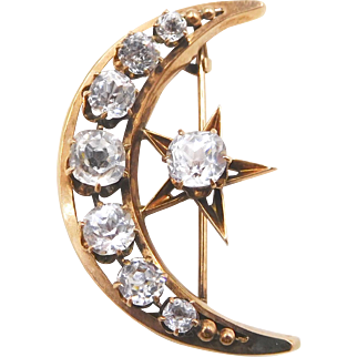 Victorian 12K Gold, Pastes Moon Star Honeymoon Brooch