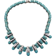 Vintage 950 Mexico Sterling Turquoise Necklace