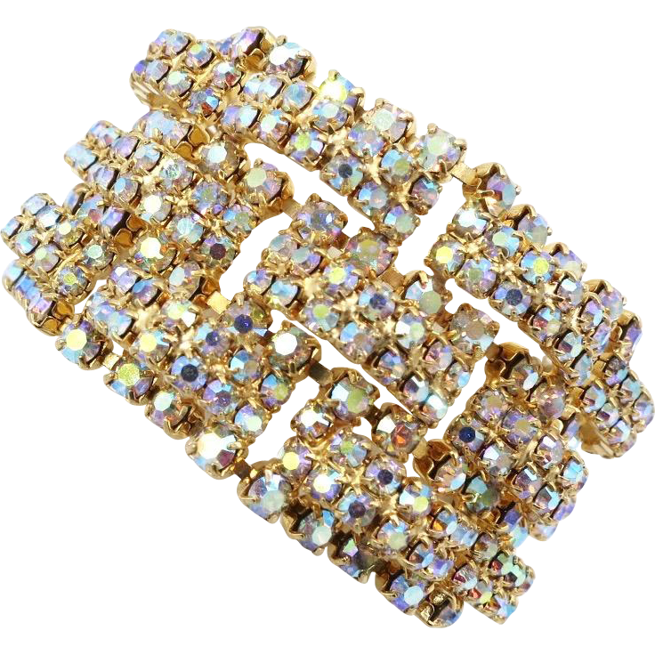 Vintage AB Rhinestone Domed Links Bracelet