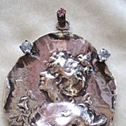 RESERVED!!!!  Large vintage art Nouveau and pastes sterling pendant