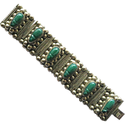 Wide Mexican Alpaca Faux Jade Faces Bracelet