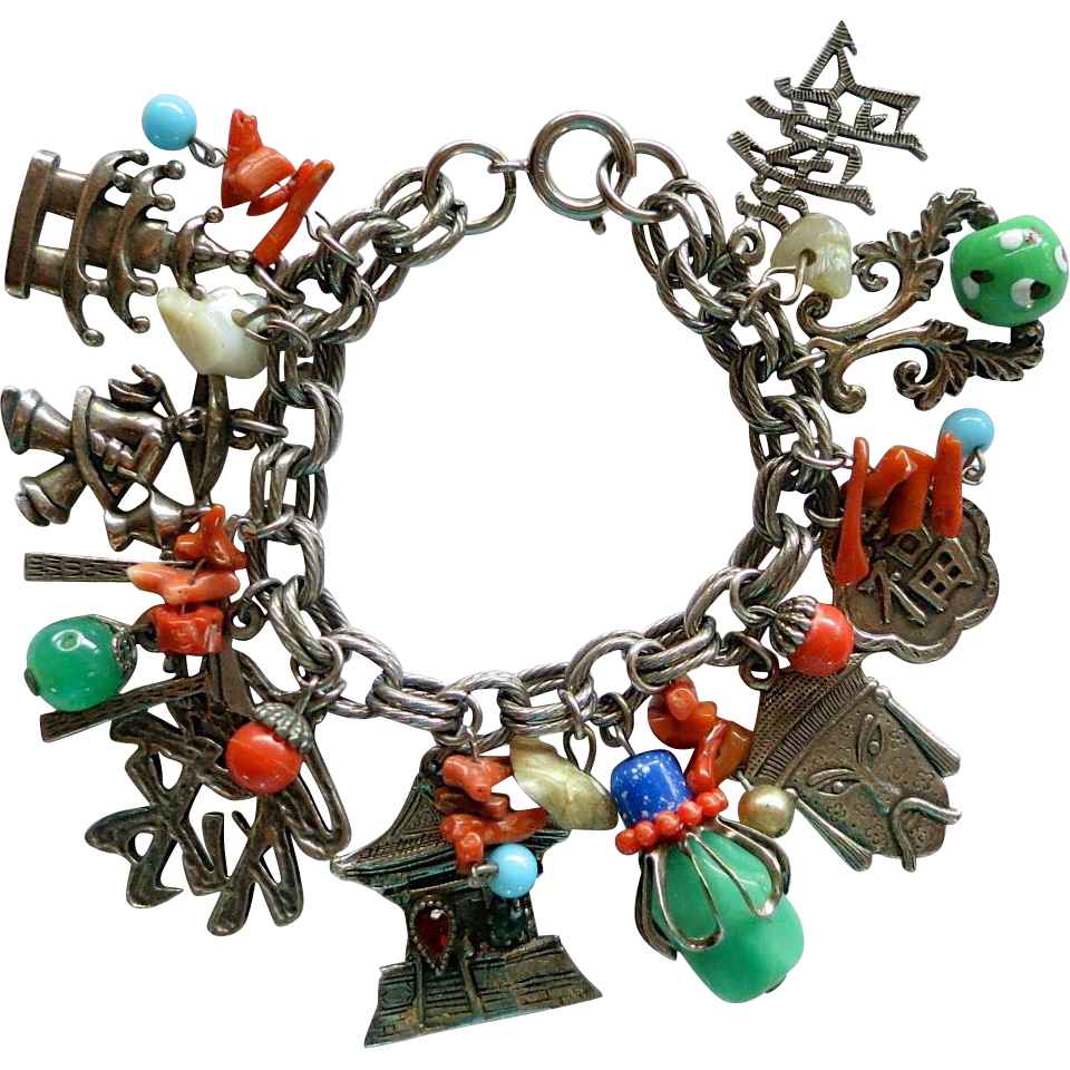 Vintage Asian Theme Charm Bracelet signed Germany