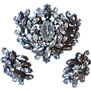 Schreiner Clear and Silver AB Rhinestone Brooch Set