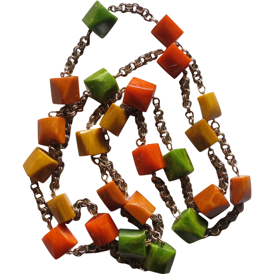 Fall Colors Bakelite Chunks Necklace