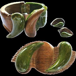 Vintage Carved Spinach Green Bakelite Wood Clamper, Brooch, Earrings Set