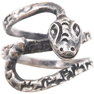 Vintage Los Ballesteros Taxco Mexico Sterling Snake Ring