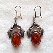 Sterling Baltic Amber Pierced Earrings