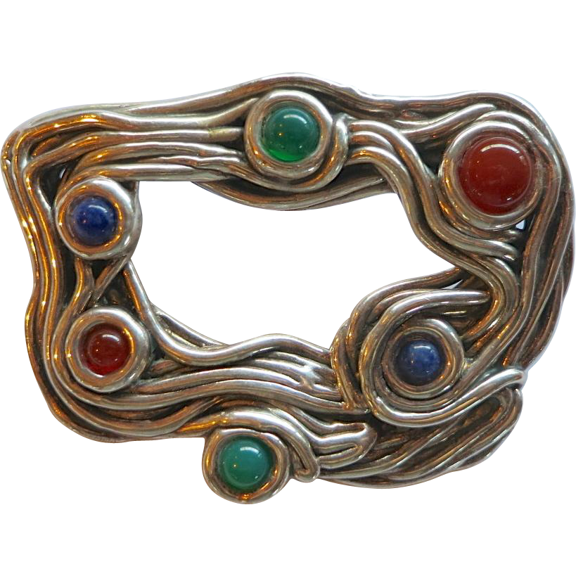 "Bat Ami Sterling Electroform and Gemstone ""Spaghetti"" Brooch - Israel"