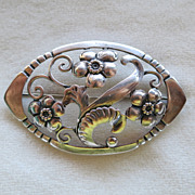 Baur Sterling Floral Brooch