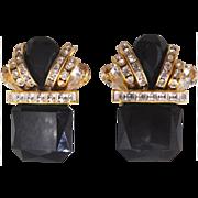 Vintage 1980s Huge Black Clear Rhinestone Clip Earrings
