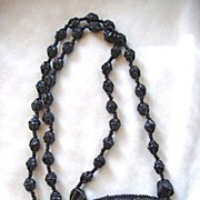 Vintage signed Miriam Haskell black beaded French jet necklace